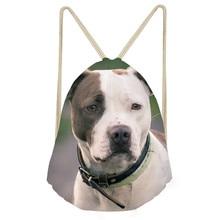 Funny 3D Bull Terrier Dog Print Women Men Drawstrings Bags Travel Storage Bags for Teen Boys Girls Softback BackpackSumka