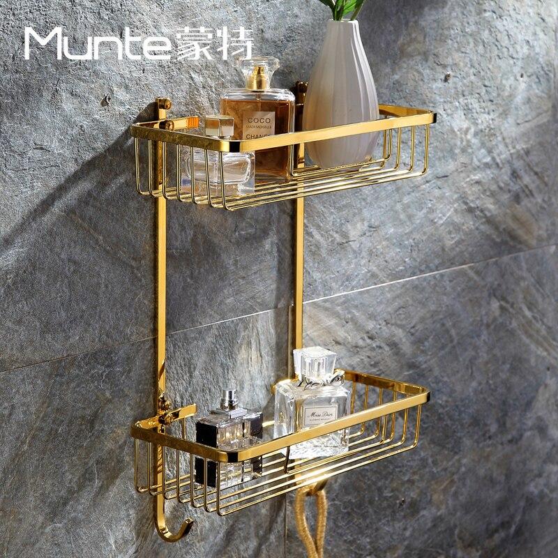 Double frame brass hardware hanging basket gold square bathroom rack