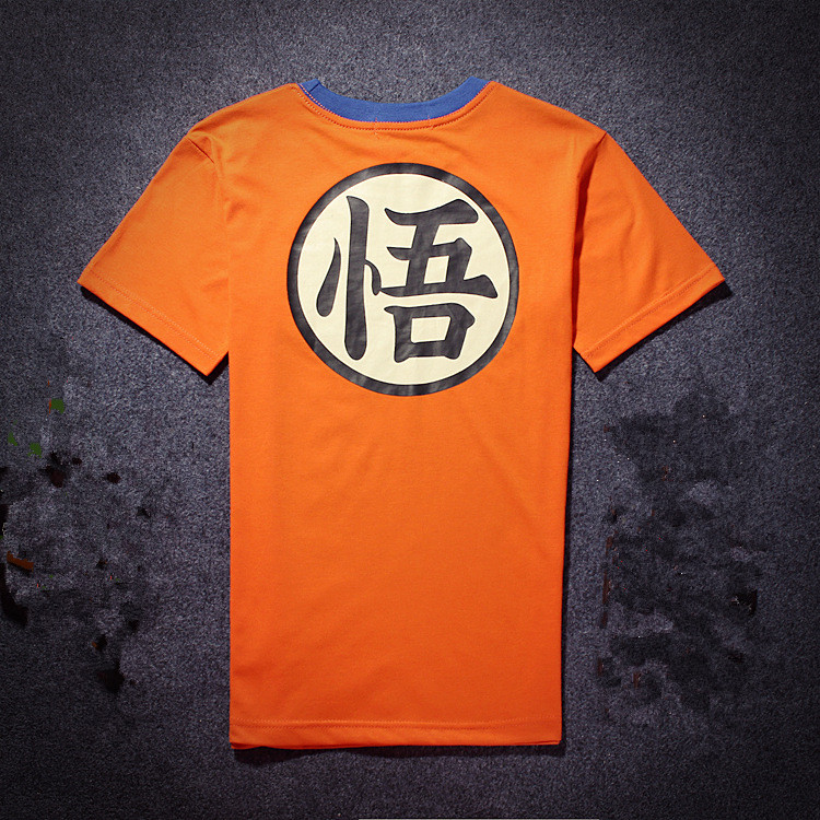 2016 Cosplay Dragon Ball  WuKong T Shirt Men Slim Short Sleeve Tshirt Homme for gift Tee Orange Brand Clothing  tee shirt homme