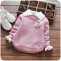 Autumn Baby Girls Long Sleeve Lapel Collar Crown Knitwear Princess Kids Pullovers Kintted Sweaters roupas de bebe