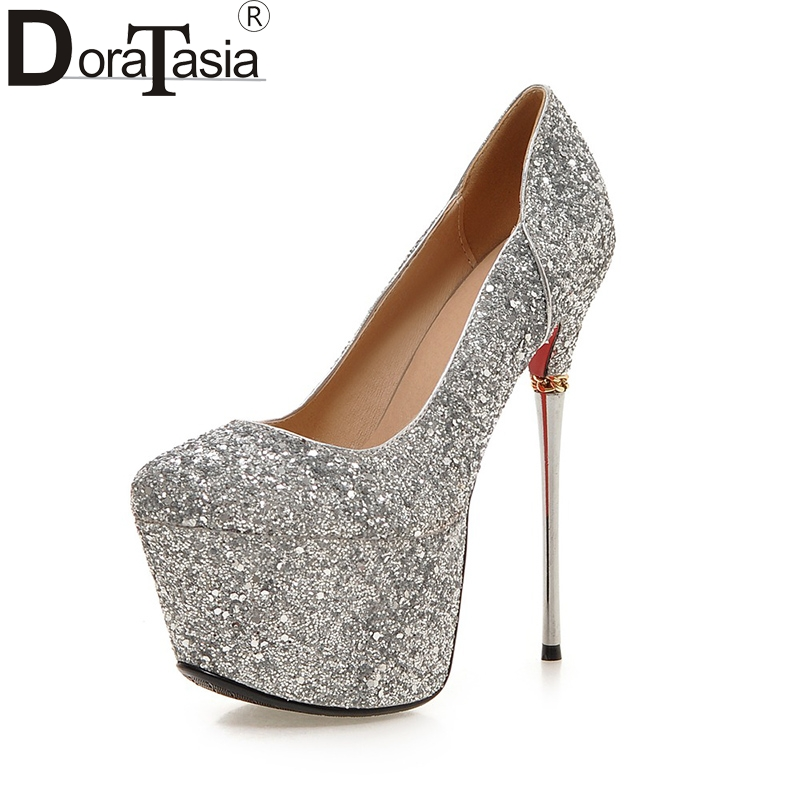DoraTasia Big Size 32-43 Spring Summer Party Woman Shoes Women Sexy 16cm Thin High Heels Bling Upper Bride Pumps Shoes big size 32 44 ankle strap patch color super hoof high heels platform shoes woman spring summer pumps party dress shoes sexy