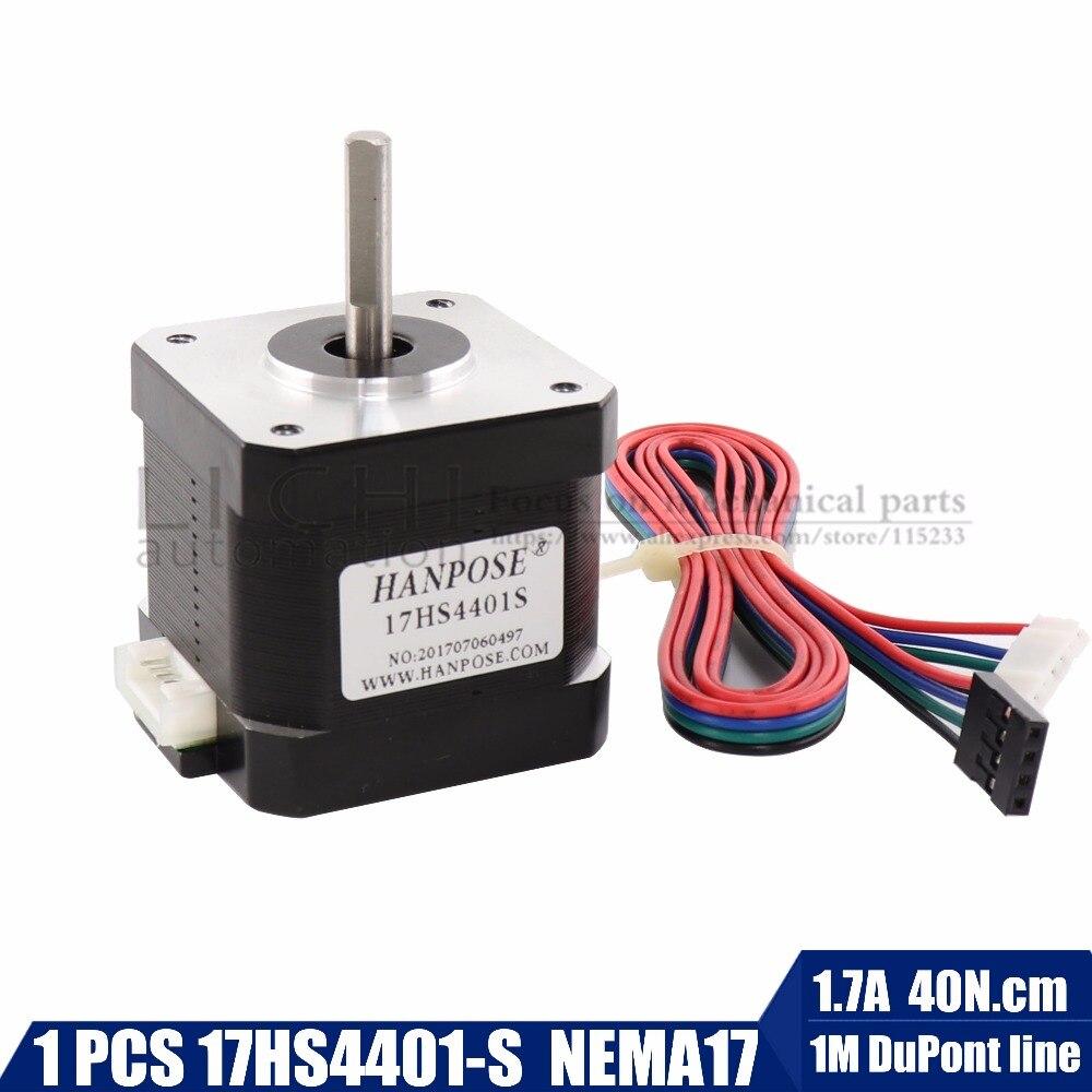 Free Shipping 1PCS Nema17 Stepper Motor 42 Motor Nema 17 Motor 42BYGH 1.7A (17HS4401-S) Motor 4-lead  For 3D Printer