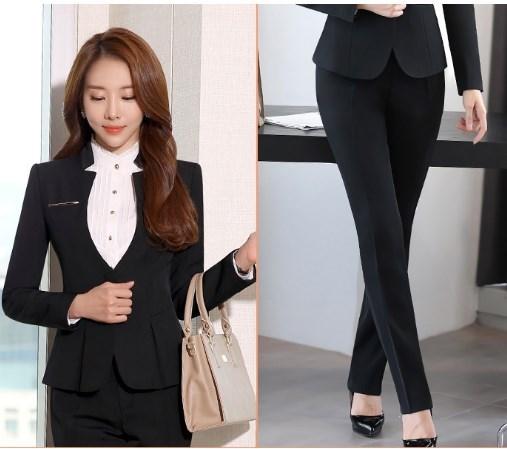 Women Office Pants Suit 2 Pieces Blazer and Pants Outfits Set Korean Business Career Formal Formal Trouser Suit Ladies Pantsuits