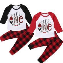 2Pc Newborn Kid Baby Boys Clothes Sets Letter Tops Shirts Long Plaid Pants 2pcs Cotton Outfit Clothing Boys 6M-5T