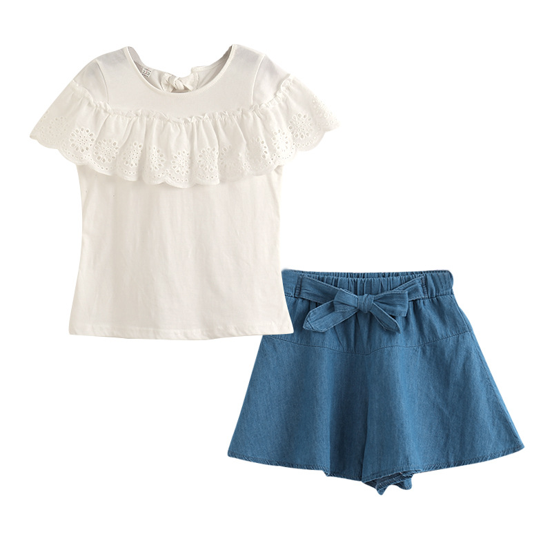 Children Girl Clothes Summer Short Sleeve White T-Shirt Top+Pant Skirt Style Cotton Kid Clothes Set For Girls Clothing Suit day dress