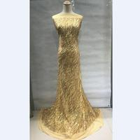 Gold French Mesh Lace Fabric High Class African Laces Fabric Tulle Net Lace With Sequins For Sewing Beauty Women Dress 30