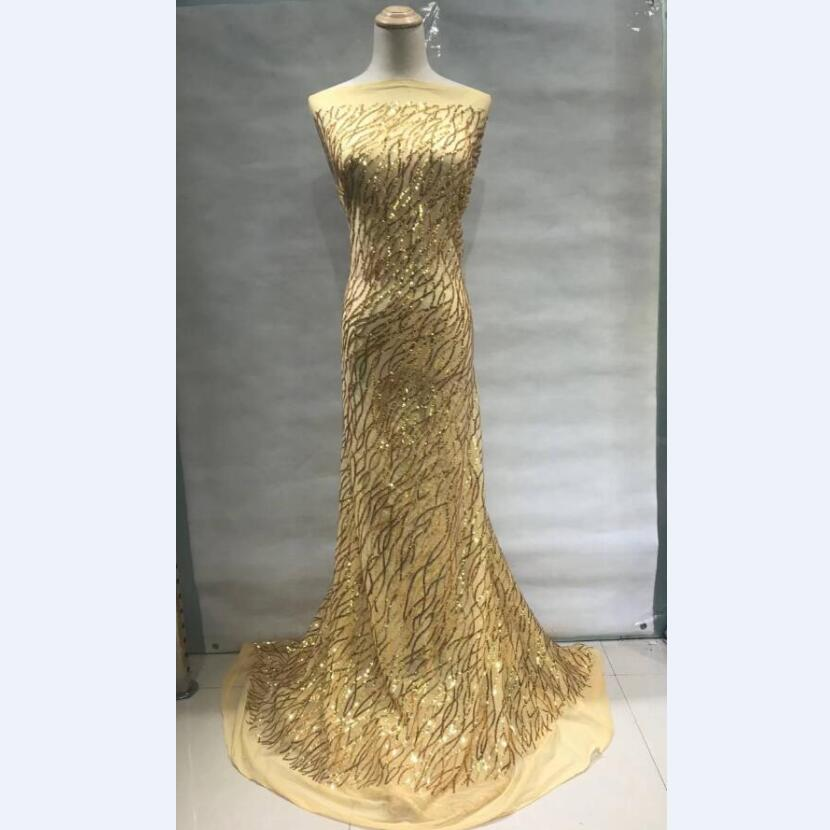 Gold French Mesh Lace Fabric High Class African Laces Fabric Tulle Net Lace With Sequins For Sewing Beauty Women Dress 30Gold French Mesh Lace Fabric High Class African Laces Fabric Tulle Net Lace With Sequins For Sewing Beauty Women Dress 30