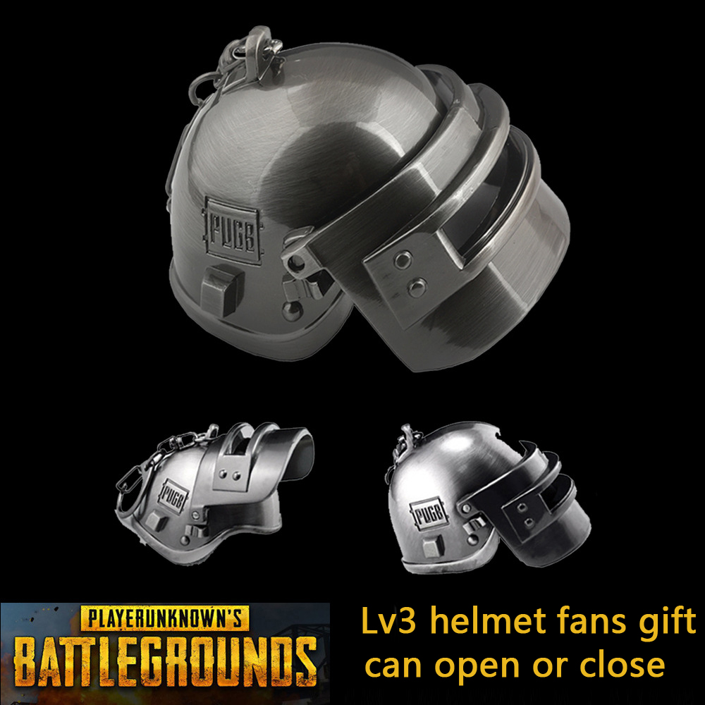 Game Playerunknown Battlegrounds PUBG 3D Keychain Zinc Alloy Lv3 Helmet Armor Model Keyring Key Chain Fans Gift Cosplay Props
