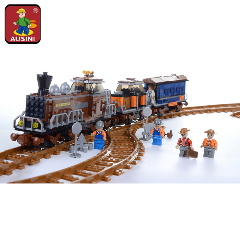 AUSINI 662pcs AlanWhale Classical American Steam locomotive Train Model Building Blocks Bricks Playset Railway 25710