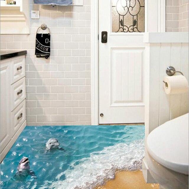 3D Dolphin Boden Aufkleber Schöne Meer Wandaufkleber Nette Wasserdichte PVC  Badezimmer Dekor Aufkleber Umweltfreundliche Kinder Wandpapier