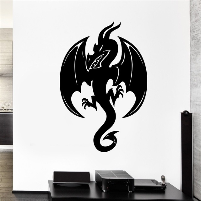 wall decal black dragon snake fire monster wings scales vinyl