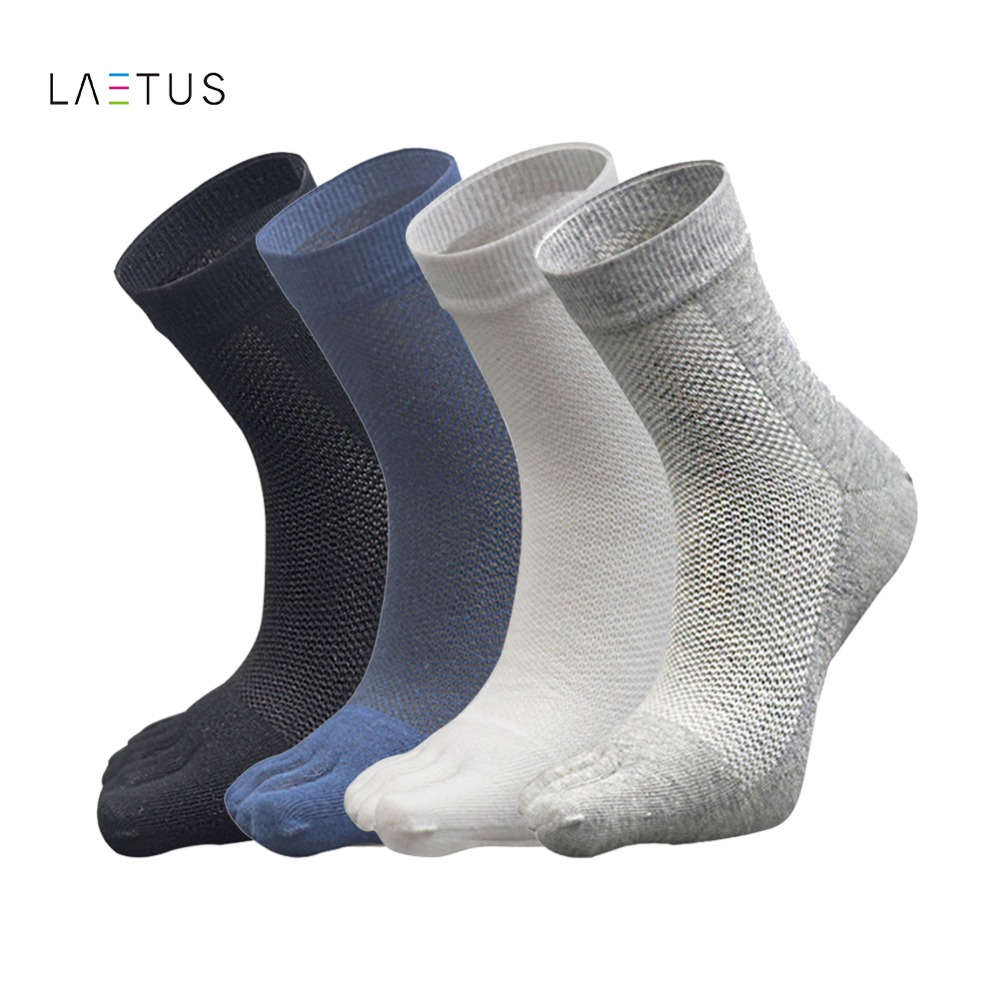 Laetus Men Fashion Mesh Breathable Five Toes Socks Absorb Sweat Male Casual Cotton Five Finger Crew Dress Socks 1 Pairs