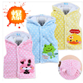 2016 Hot & New children vest dot cartoon with a hood coral fleece thickening vest