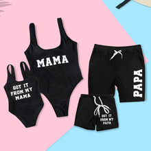 Купить с кэшбэком Family Look Swimsuits Mother Daughter Bikini Father Son Swimwear Shorts Mommy Dad and Me Matching Outfits Beach Dresses Clothes