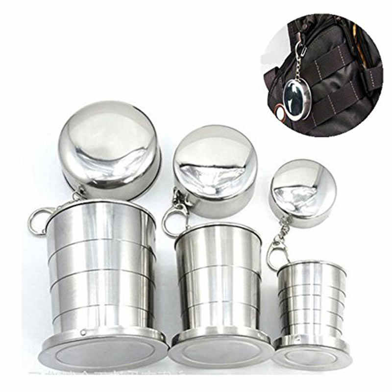 Mini Stainless Steel Portable Outdoor Travel Camping Folding Collapsible Cup Telescopic Mug With Keychain 75Ml /140Ml /240Ml