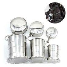 Mini taza telescópica de acero inoxidable portátil para acampar al aire libre taza plegable con llavero 75 Ml/140 Ml/ 240 Ml