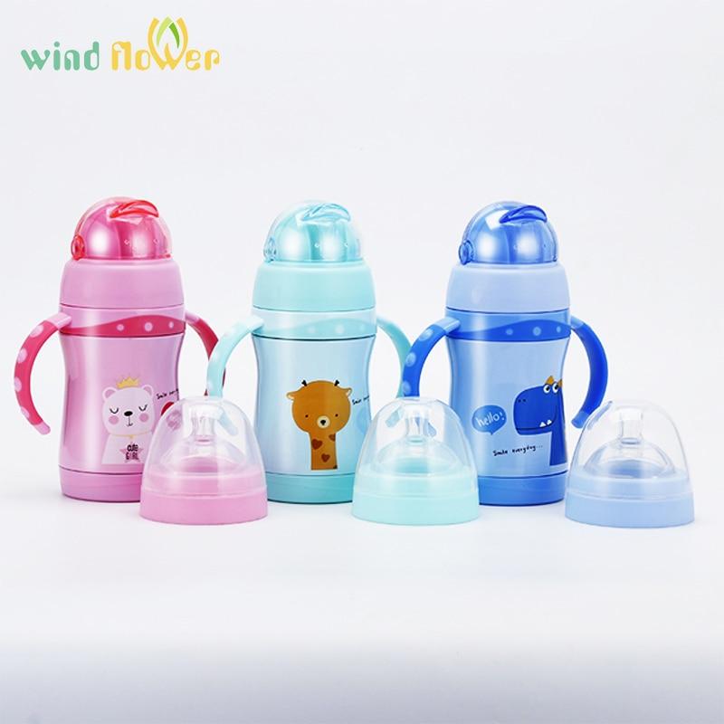 Water Bottle Nozzle: Wind Flower Kids Water Bottle 280ml Nozzle And Straw