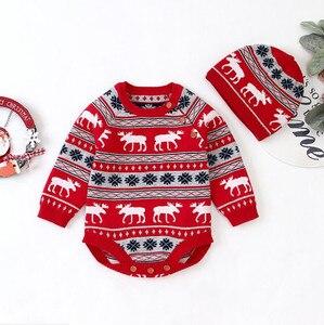 Image 4 - Рождественская одежда для малышей, Вязаный комбинезон для маленьких девочек и мальчиков с шапкой, Детский комбинезон хлопок с оленем, комплект одежды для новорожденных