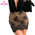 2016 New Autumn Black Sexy Mini Skirt Vintage Lace Floral Skirt Elegant Bodycon Women Skirts LJ4930R