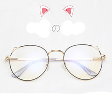 DUOYUANSE 2019 New Metal Anti-Blue Glasses Fashion Cat Eye Flat Light