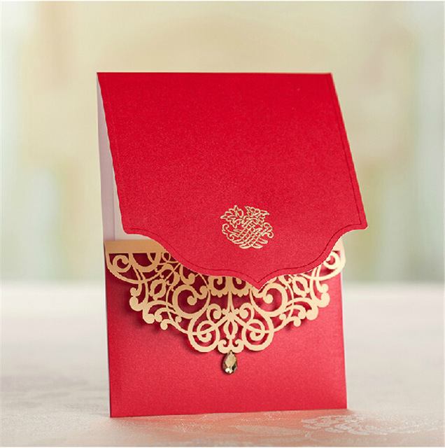 50pcs Lot Latest Indian Wedding Card Design Laser Cut Invitations Royal Red
