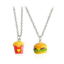 One pair Best Friend Forever BFF pendant necklace fast food charm necklace cute French Fries chips hamburger cartoon jewelry(China)