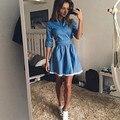 2016 denim dress com lace mulheres casual sólidos laço azul Denim fino Vestidos de Manga Longa Fino Plus Size Vestidos Das Mulheres roupas