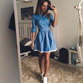 2016 denim dress con encaje mujeres ocasionales sólidas de encaje azul Vestidos de Mezclilla delgada Delgada de Manga Larga Más Tamaño Vestidos de Las Mujeres ropa