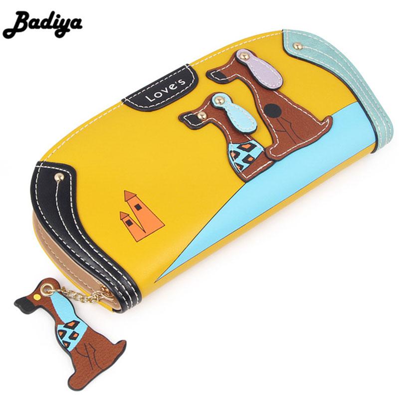 Fashion Cute Long Wallet Women PU Leather Cartoon Dog Bag Lady Clutch Phone Case Puppy Zipper
