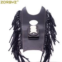 ZORBYZ мотоцикл черный бахромой из искусственной кожи Танк нагрудник Бензобак сумка Pad чехол для Harley Honda Yamaha