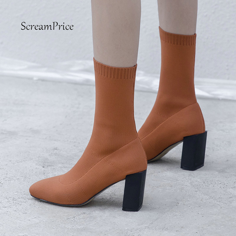 Women Comfort Knitting Thick High Heel Ankle Sock Boots Fashion Slip On Square Toe Fall Winter Bootie Yellow Black набор одноразовых глубоких тарелок buffet цвет желтый 18 х 18 см 6 шт