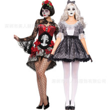 2016new Halloween Ghost Bride demon Costumes Harlequin Clown Circus Vampire Cosplay Adult Funny Dress angel Jester clown clothes