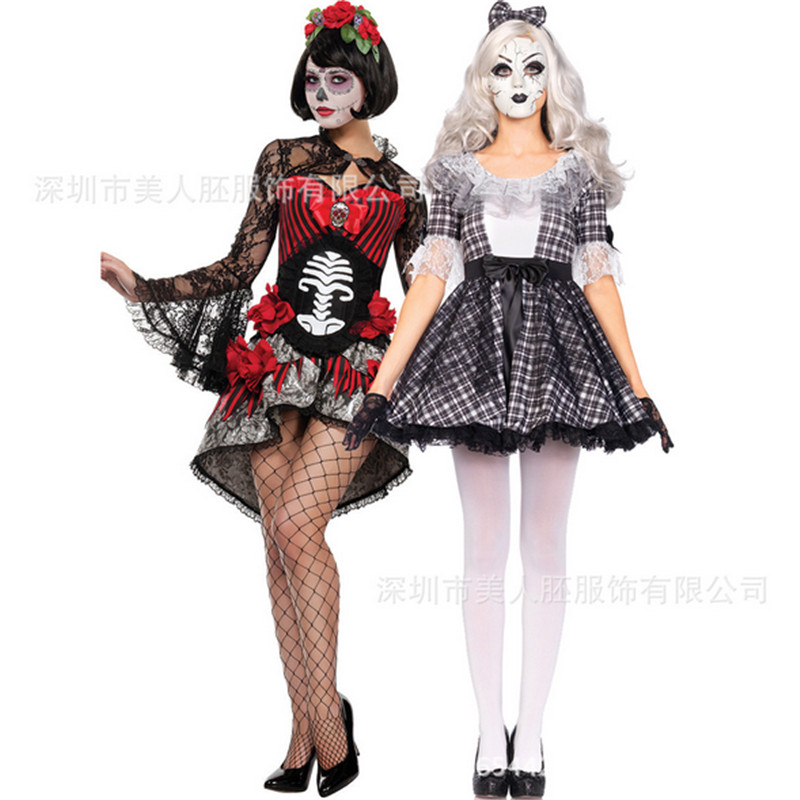 2018new Halloween Ghost Bride demon Costumes Harlequin Clown Circus Vampire Cosplay Adult Funny Dress angel Jester clown clothes