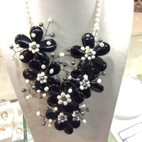 Fashion Jewelry Natural Stone Black Onyx Agates Flower Necklace Freshwater Pearl flowers Necklace