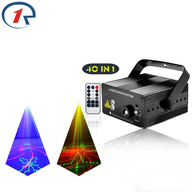 ZjRight IR Remote 40pattern Red Green Blue Laser Lighting Colorful Led effect Stage Light KTV disco dj light family party light rg mini 3 lens 24 patterns led laser projector stage lighting effect 3w blue for dj disco party club laser