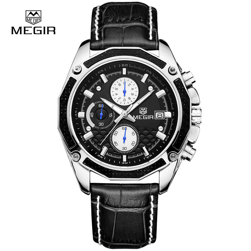 Megir fashion sport quartz watches men casual leather brand wristwatch man hot waterproof luminous stop watch for male hour 2015