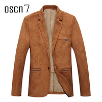 OSCN7 Velvet Solid Blazer Men 2017 New Fashion Slim Suits And Blazers Large Size Casual Mens