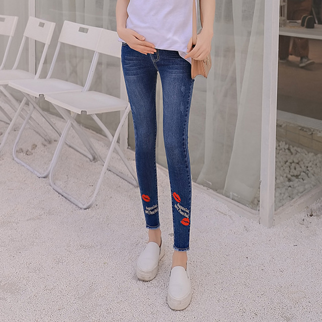 c5e9993755e4b Newest Elastic Waist Hole Stretch Denim Maternity Belly Jeans Summer Spring Pants  Clothes for Pregnant Women Pregnancy Trousers