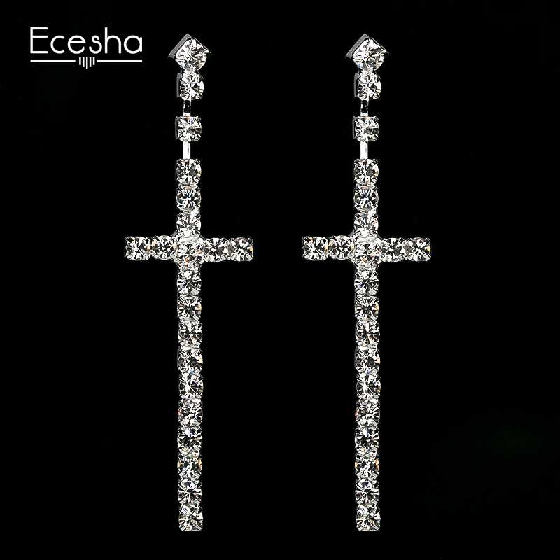 Hot Sales Silver Plated White Crystal Cross Pendant Earrings Female Long Bridal Chain Earrings Rhinestone Wedding Accessories