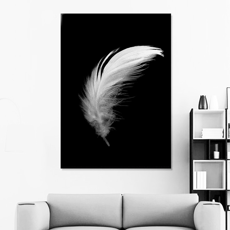 HTB1PqV6aOYrK1Rjy0Fdq6ACvVXac Posters And Prints Canvas Feather Quote Painting Wall Art Black White Pictures For Living Room Nordic Minimalist Decoration