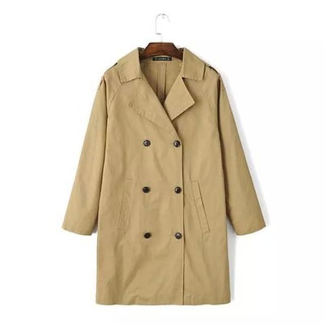 Primavera y Otoño Delgado era delgada Medio largo Cazadora de Doble Botonadura abrigo chaqueta Retro Mujeres Tops