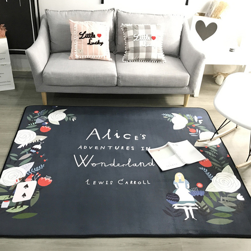 Moderne noir et blanc tapis style nordique salon chambre chevet table basse canapé tapis tapis enfant/bébé chambre ramper tapis