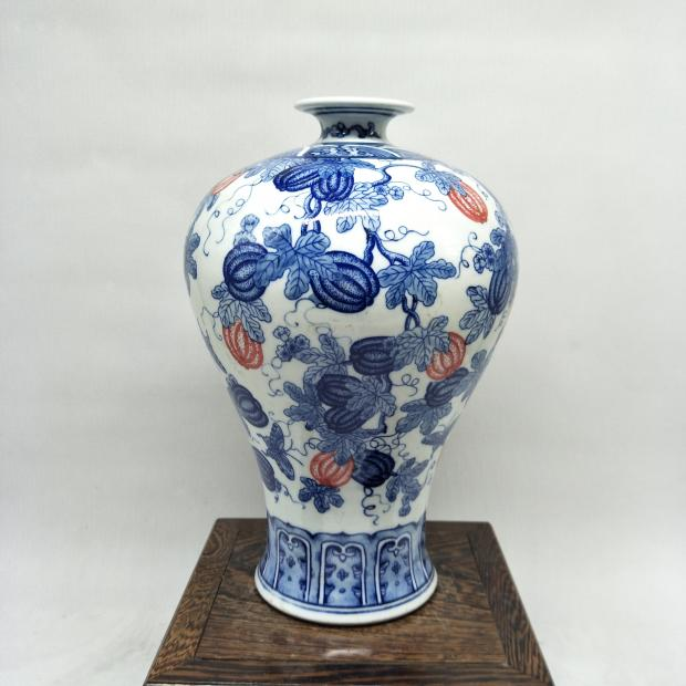 Antique Old Chinese Porcelain Vaseblue And White Pumpkin Botttle