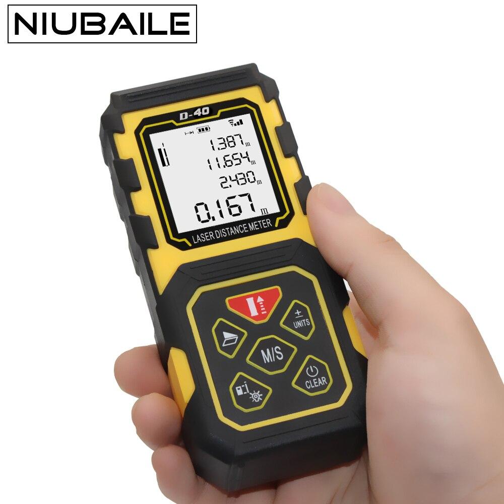 NIUBAILE Telemetro Laser 40 M Misura Digitale Roulette Laser Distance Meter Misure di Nastro Elettronico trena laser D40-Y