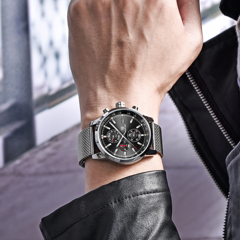 Image 2 - Benyar Men Watch Top Brand Luxury Male Mesh Quartz Chronograph Military Waterproof Wrist Watch Men Sport Clock relojes hombre-in Quartz Watches from Watches