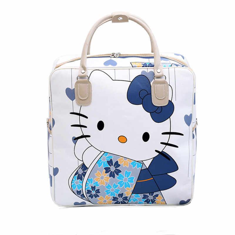 bf170d92559a PU Leather Hello Kitty Cat Travel Bag Women Girl Cute Duffle Pouch Weekend  Overnight Cartoon Shoulder