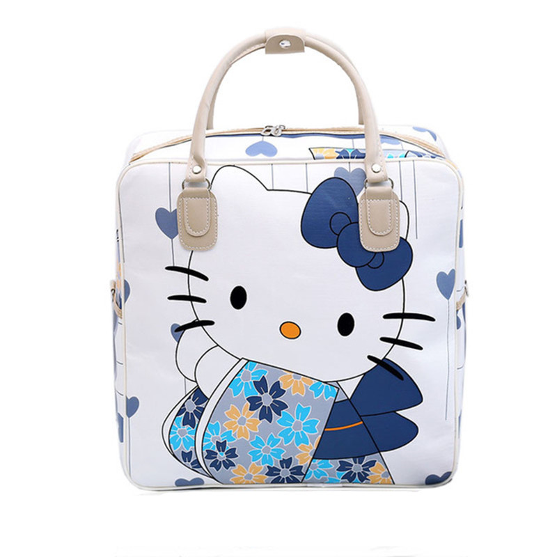 Detail Feedback Questions about PU Leather Hello Kitty Cat Travel Bag Women  Girl Cute Duffle Pouch Weekend Overnight Cartoon Shoulder Tote Portable  Luggage ... 7ea0ae540cc2b