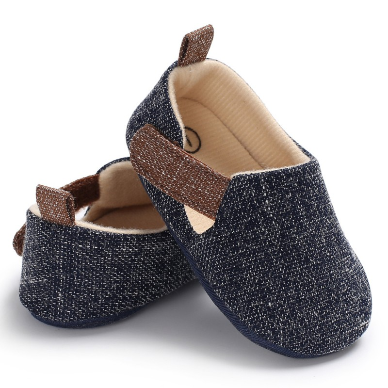 Dark Blue Grey Baby Boy Shoes Infant First Walkers Nonslip hard Sole Toddler Baby Shoes Hot Sale for 0-18M