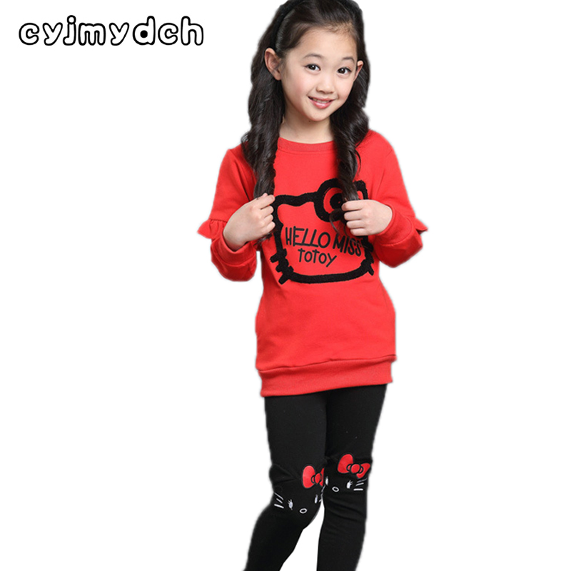 Cyjmydch kity Autumn Girls Clothing Set Sport Suit Set T-shirt+Pant Outfit Toddler Girls Clothes Children Clothing Girls