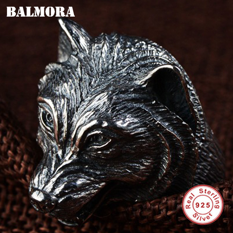 Hyperbole Ferocious Wolf Head Ring Real 925 Sterling Silver Ring for Men Vintage Thai Silver Jewelry